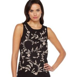 Lucky Brand Black Embroidered Tank Size XL